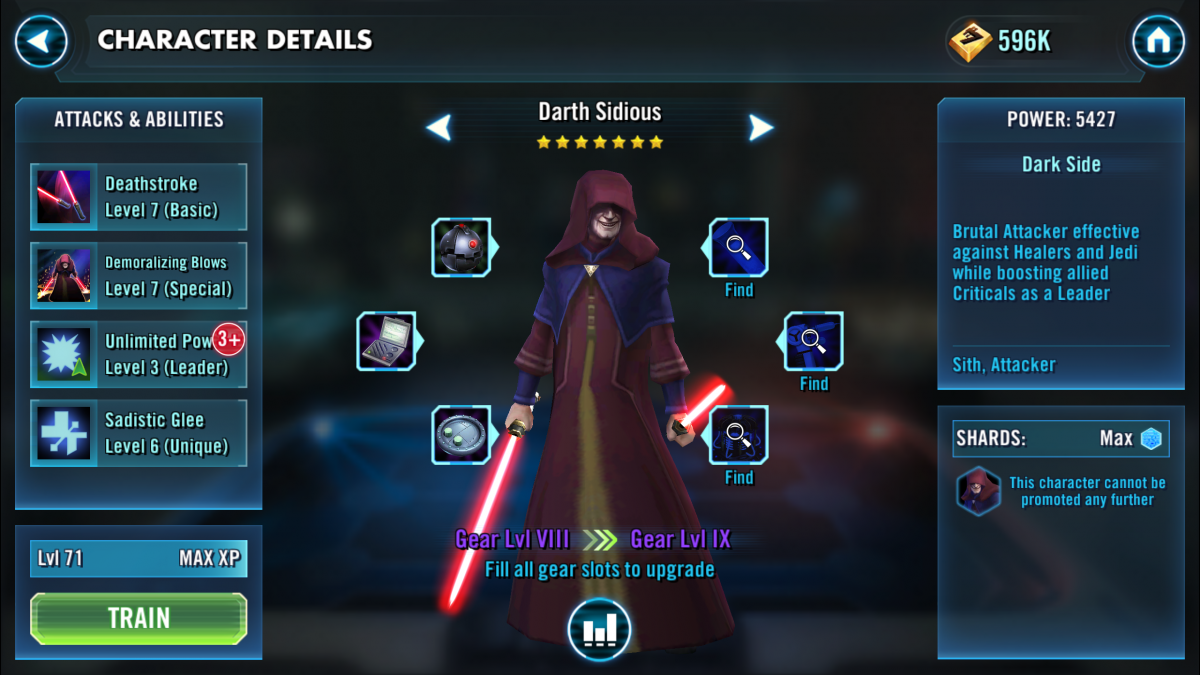 Star Wars Galaxy of Heroes Darth Sidious