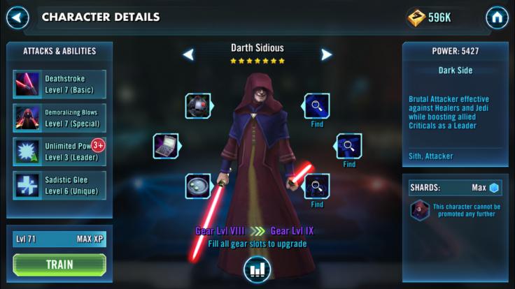 Star Wars Galaxy of Heroes Darth Sidious