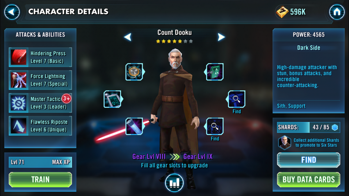 Star Wars Galaxy of Heroes Count Dooku
