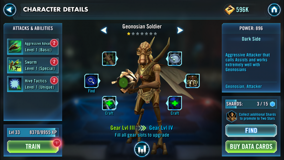 Star Wars Galaxy of Heroes Geonosian Soldier