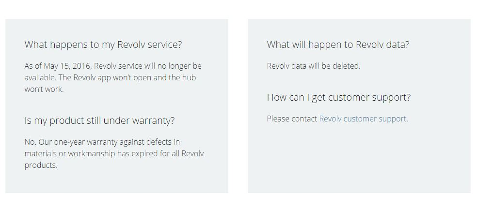 Revolv warranty expiration