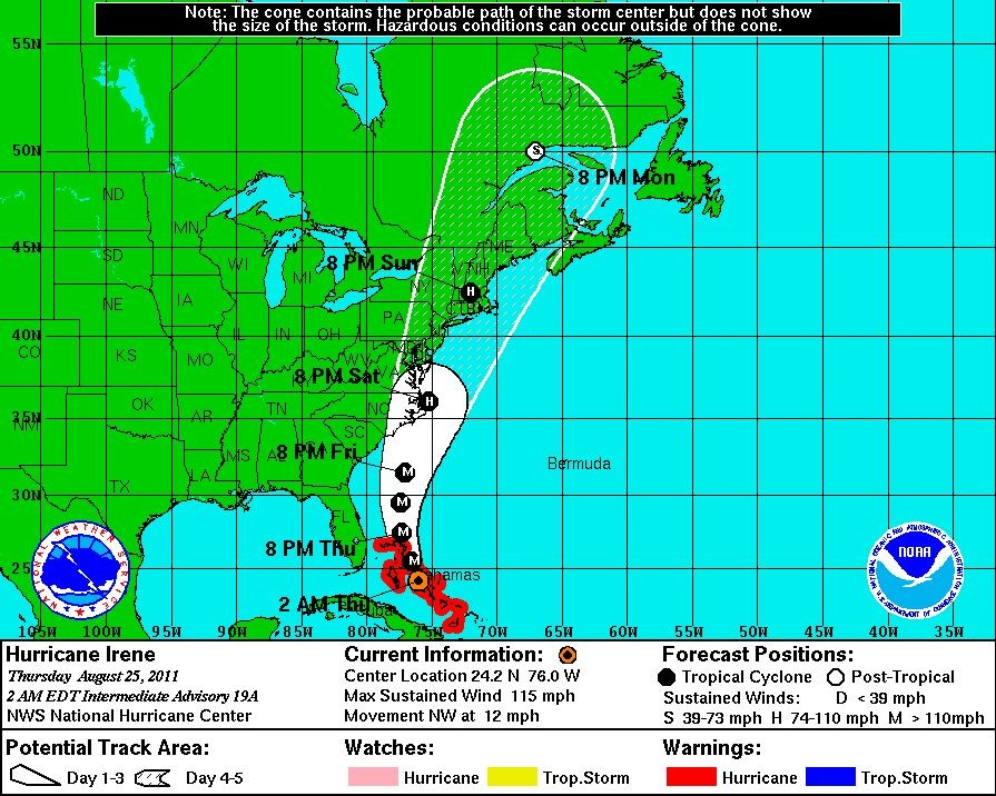 Hurricane Irene Path: Dangerously Approaching Category 4, NHC's Latest Predictions.