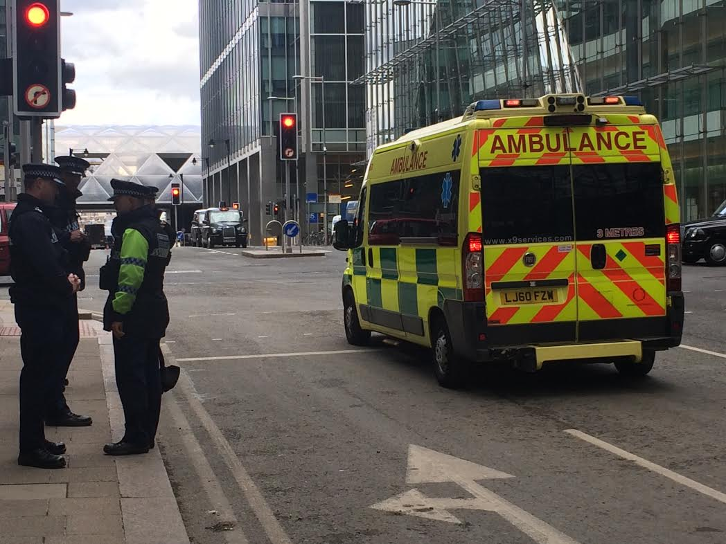 Police and Ambulance at Canary Wharf Crash