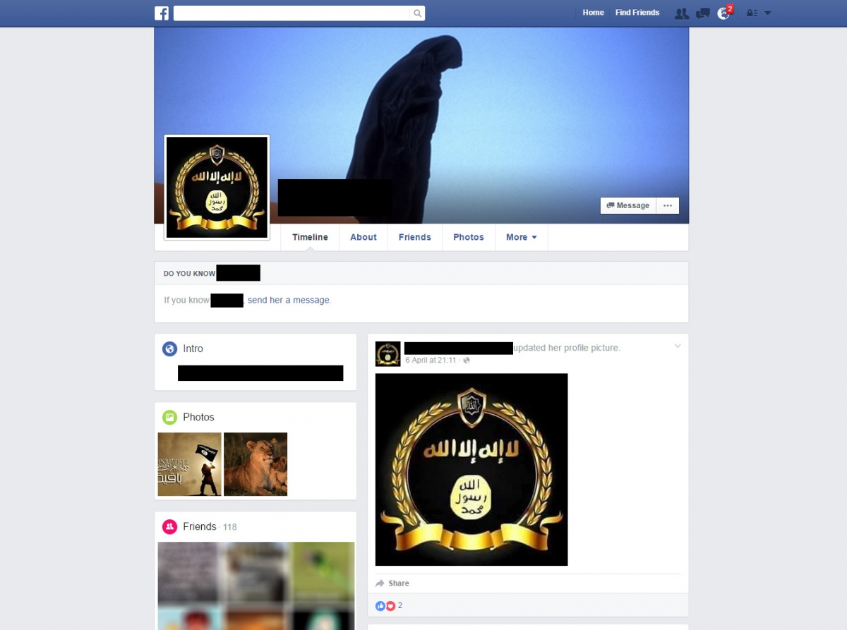 An Isis supporter's Facebook account