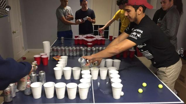 Students at Princeton High School playing Holocaust pong beer drinking game
