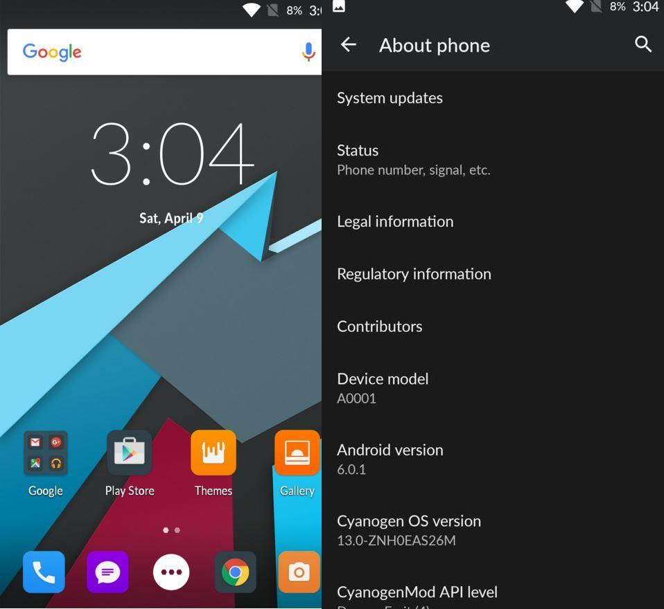 Cyanogen OS 13 update for OnePlus One