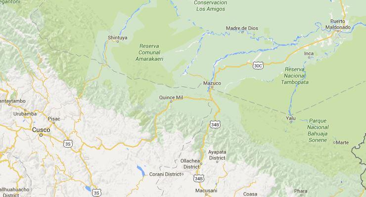 Peru map, Cusco to Puerto Maldonado