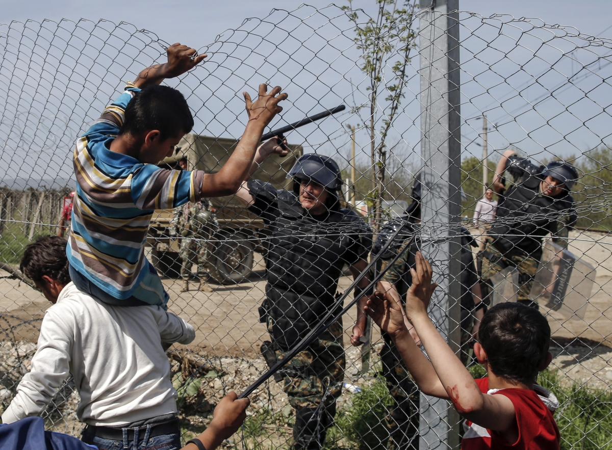 Border fence at Idomeni camp, Greece