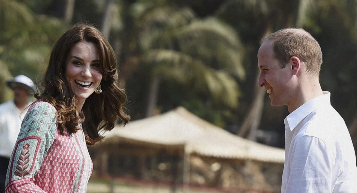 Prince William and his wife Catherine, Duchess of Cambridge, share a joke