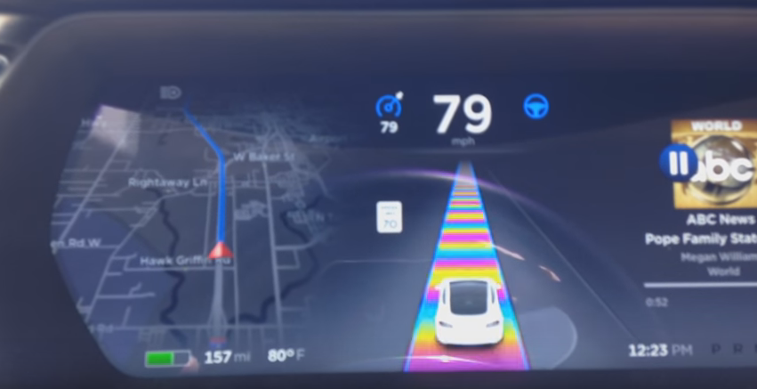 Tesla Rainbow Road Easter egg