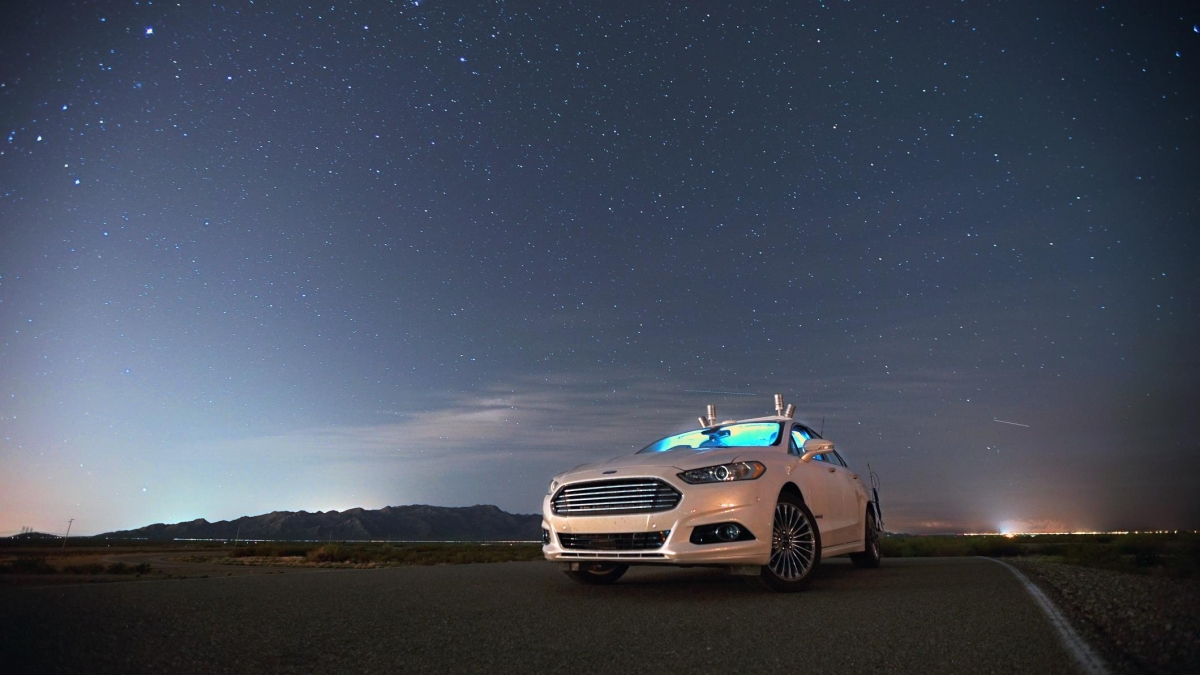 Autonomous Ford driving at night