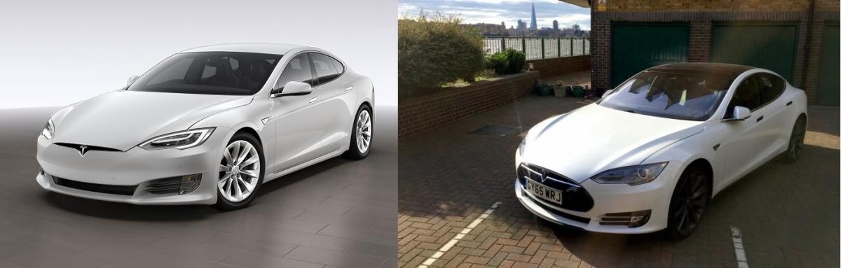 Tesla Model S front comparison 2017