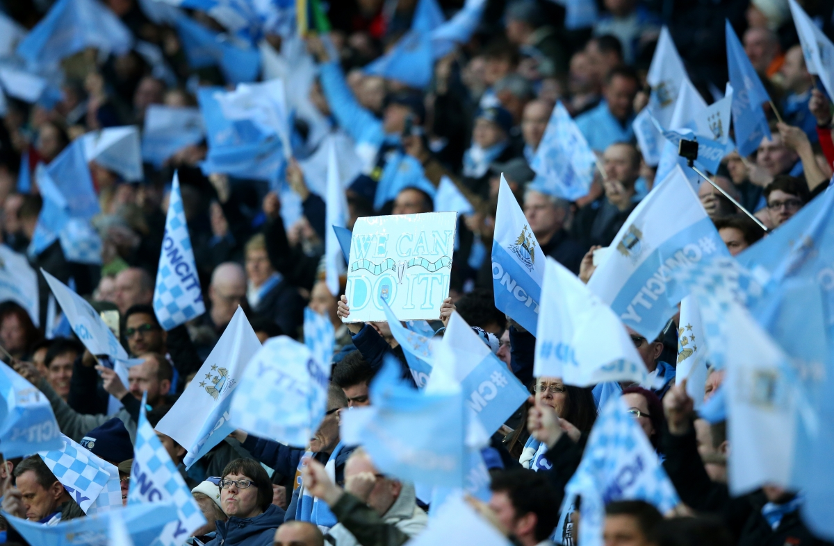 Manchester City fans before the game
