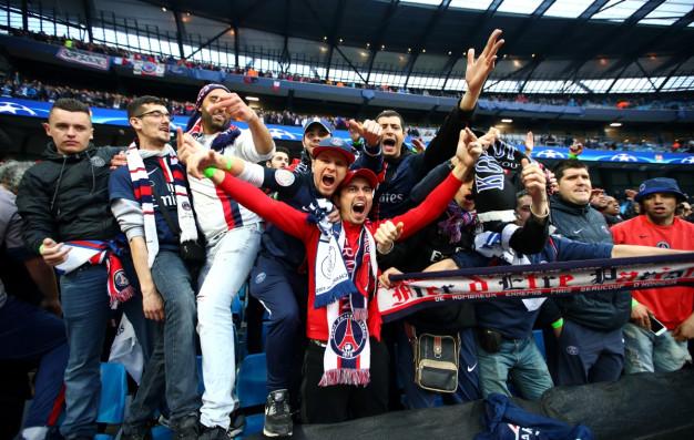 PSG fans inside the Etihad