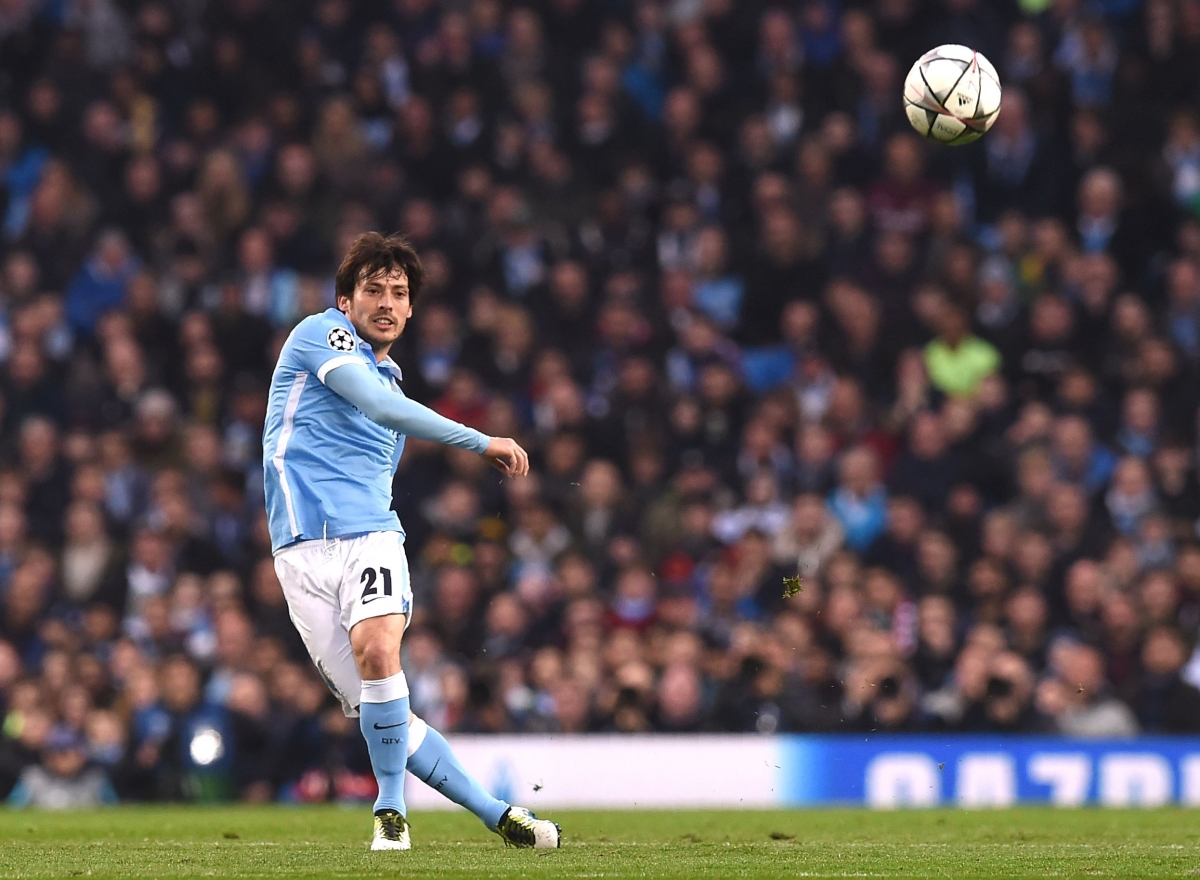 David Silva hits a long pass