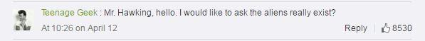Hawking fan Weibo comment