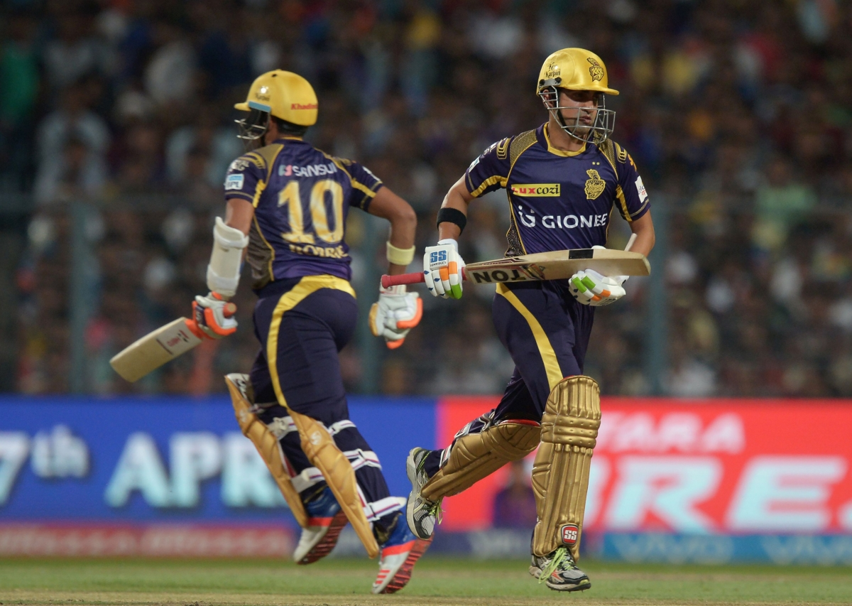 The KKR openers run between the wicket