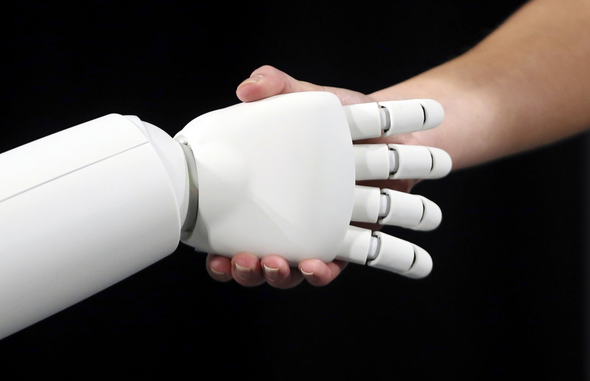 Chatbots human and robot handshake
