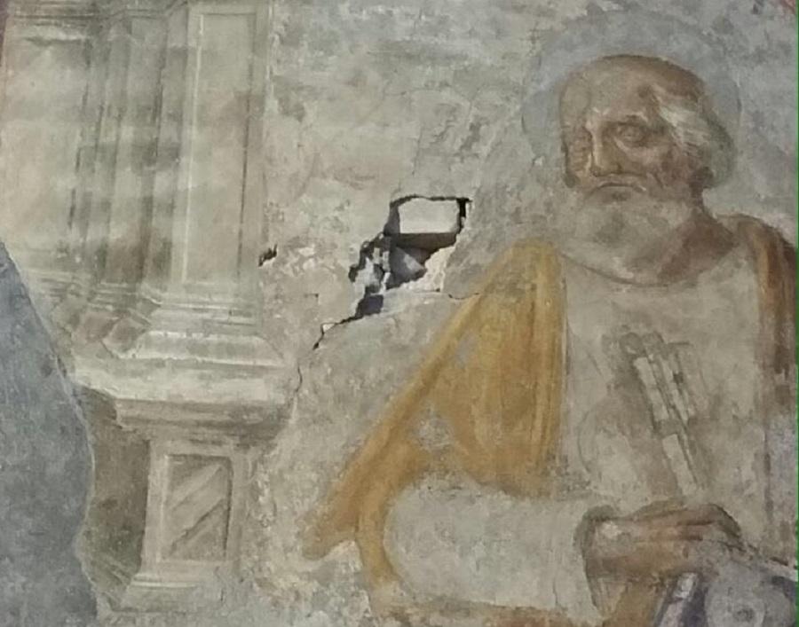 Fresco damaged Italy Basilica di San Giovanni Maggiore