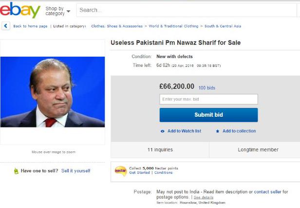 eBay Nawaz Sharif