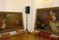 The recovered paintings were displayed in theheadquarters