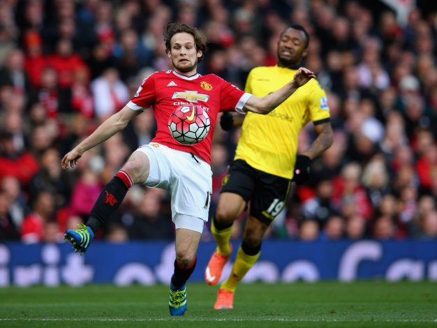 Daley Blind clears the ball for United