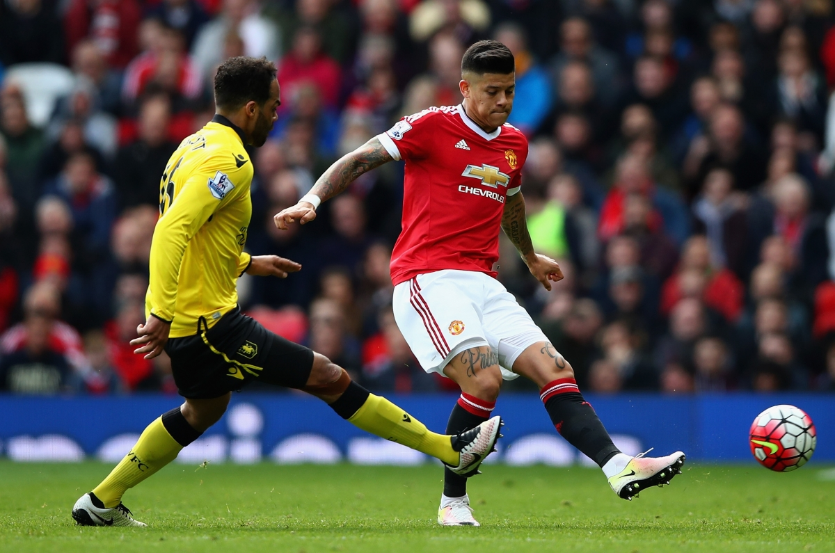 Marcus Rojo plays a pass