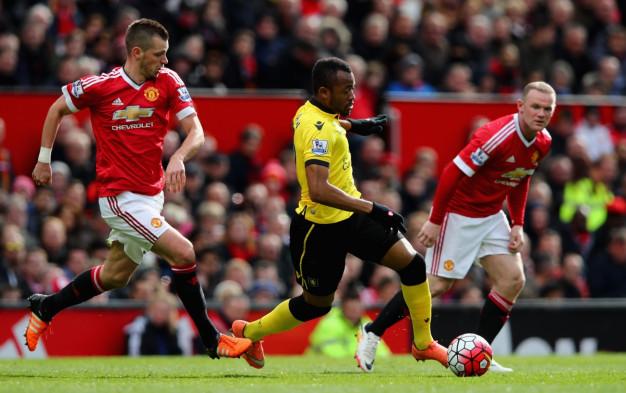 Jordan Ayew (centre) leads a breakaway