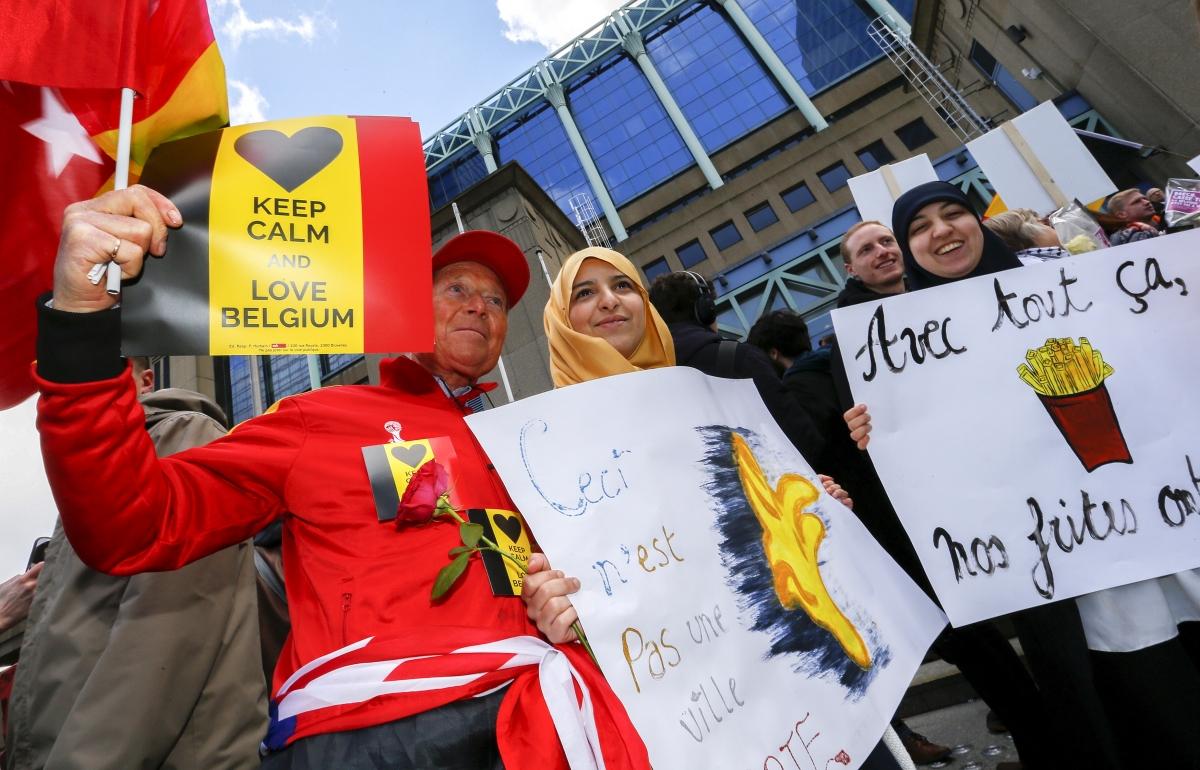 Belgium Brussels Isis attack protest 2016