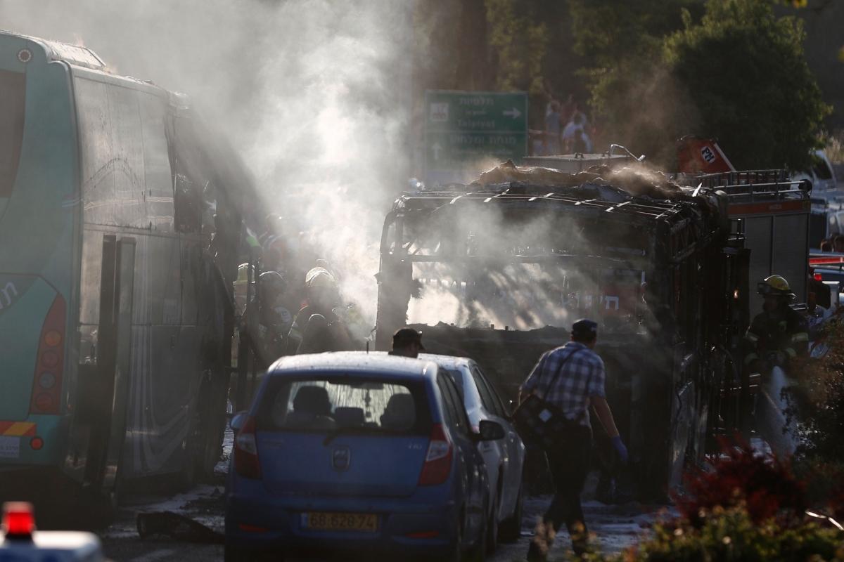 Scene of today's bus explosion in Jerusalem