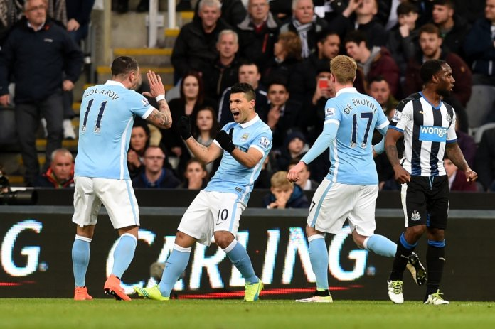 City players celebrate the opening goal