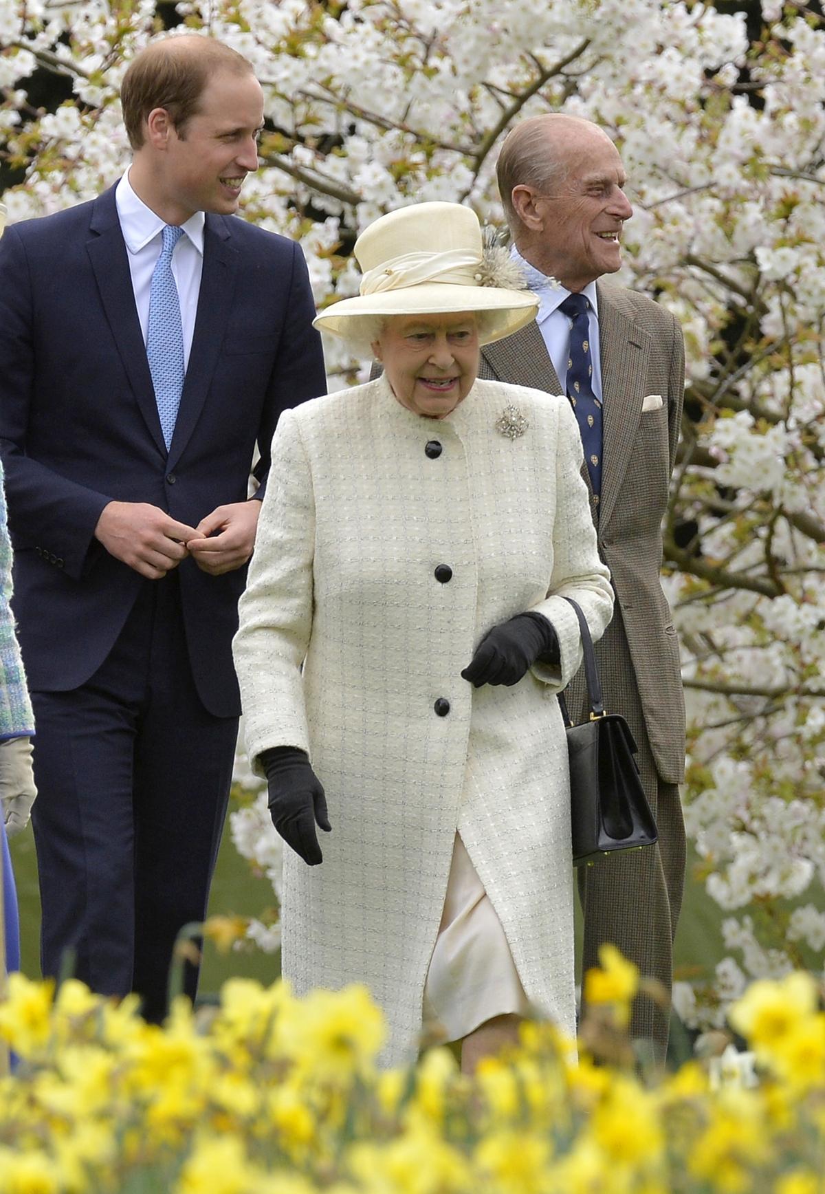 Britain's Queen Elizabeth, Prince Philip and Prince William