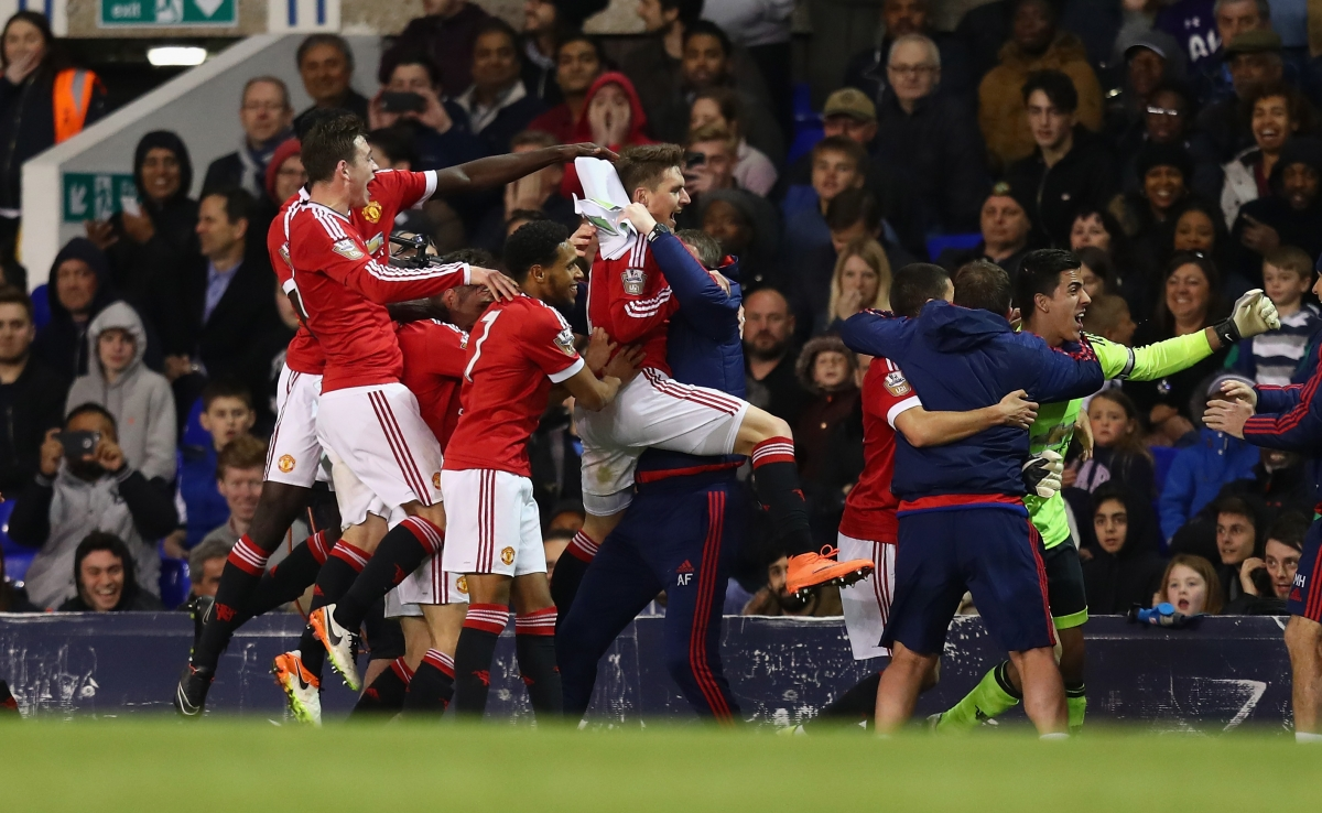 Manchester United's youngsters celebrate their success