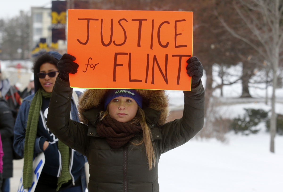 Flint water crisis protest 2016