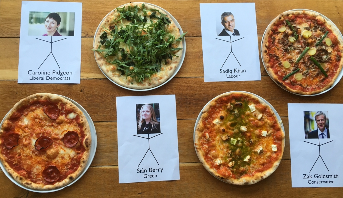 London mayoral candidates, in pizza.