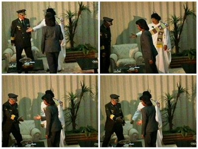 Video grab of Libyan leader Muammar Gaddafi meeting U.S. Secretary of State Condoleezza Rice in a government compound in central Tripoli