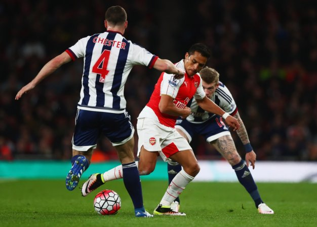 Alexis wins the ball for Arsenal