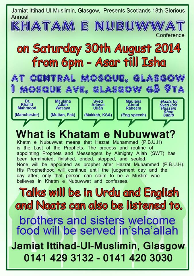 Poster for the 2014 Khatme Nubuwwat conferenceinGlasgow