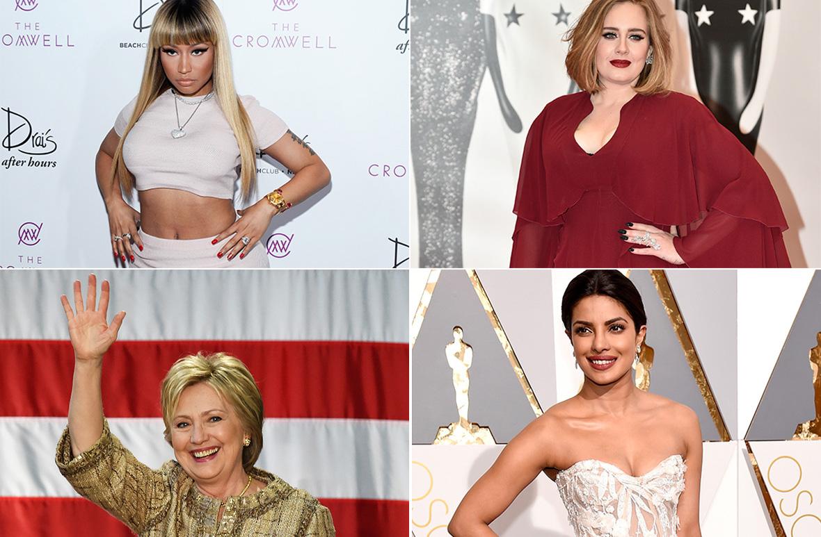 Adele, Nicki Minaj, Hilary Clinton, Priyanka Chopra