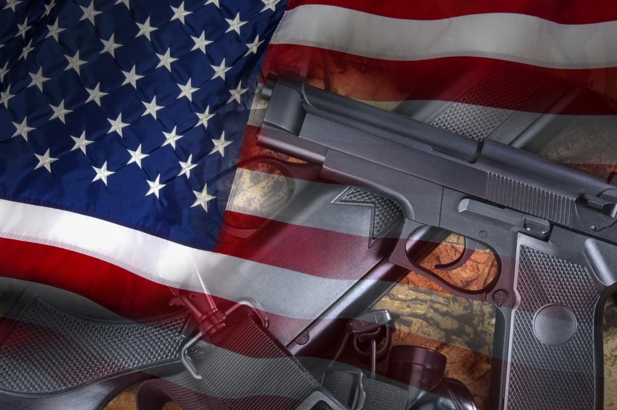 US flag and guns