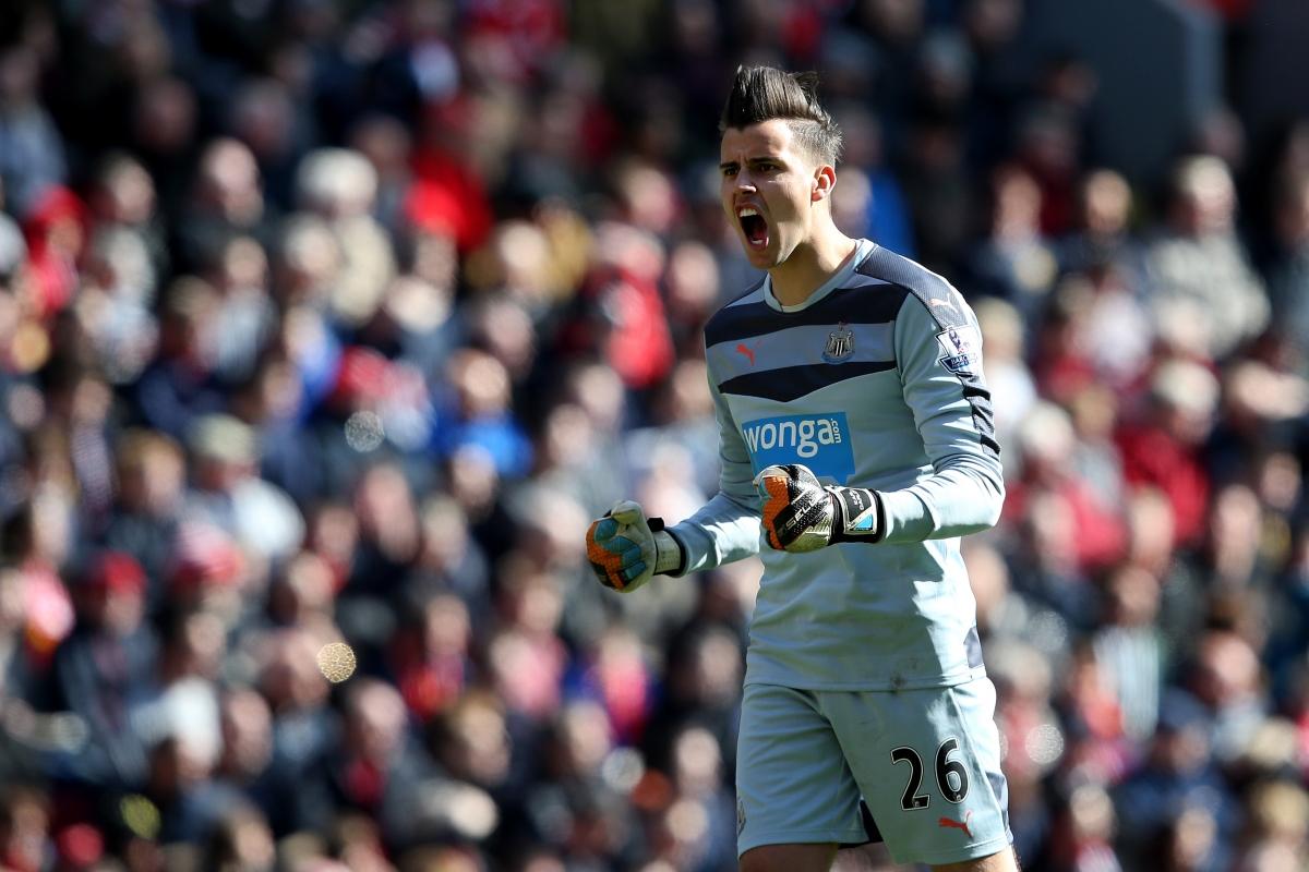 Karl Darlow celebrates Newcastle's goal