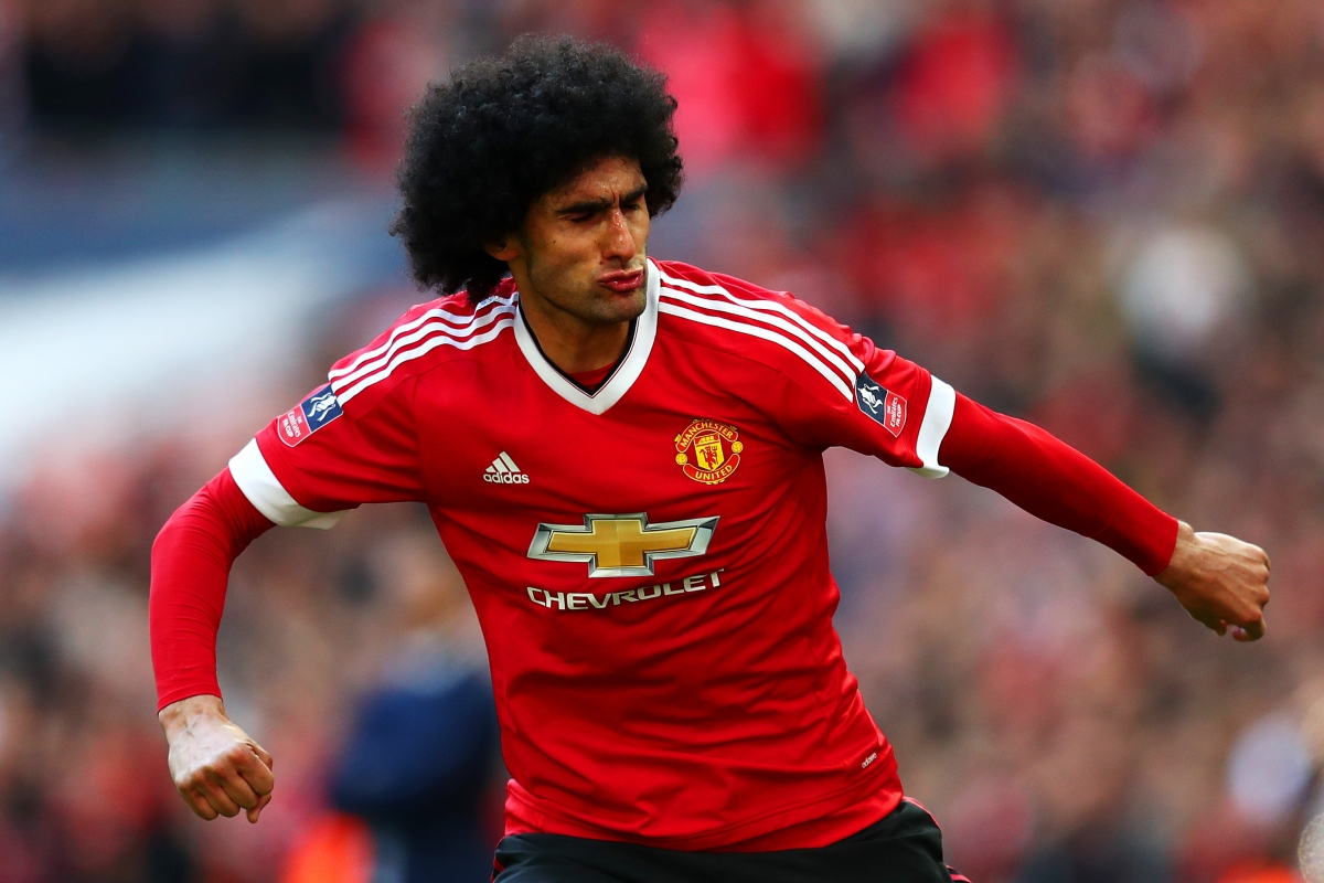 Marouane Fellaini celebrates his goal
