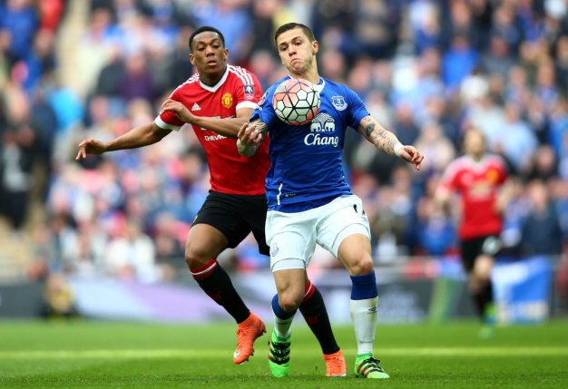 Martial competes for the ball
