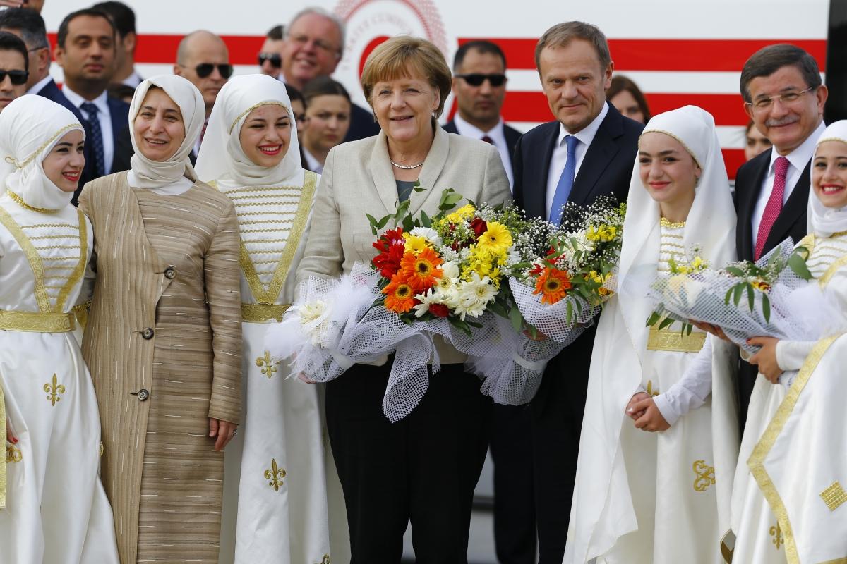 Angela Merkel, Donald Tusk & Ahmet Davutoglu