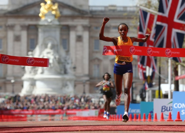 Jemima Sumgong crosses the finish line