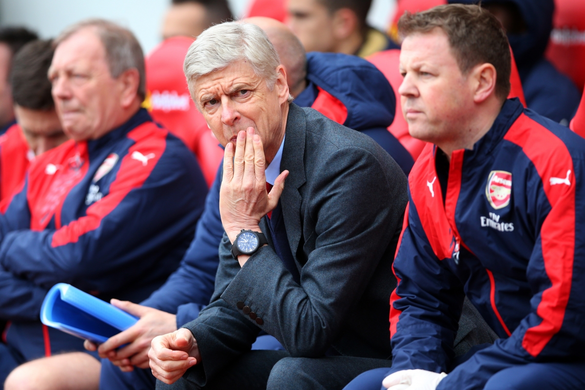 Arsene Wenger watches on from the sidelines