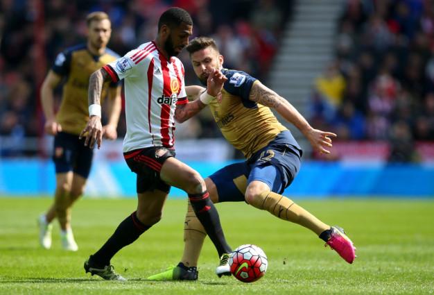 Yann M'Vila passes the ball for Sunderland