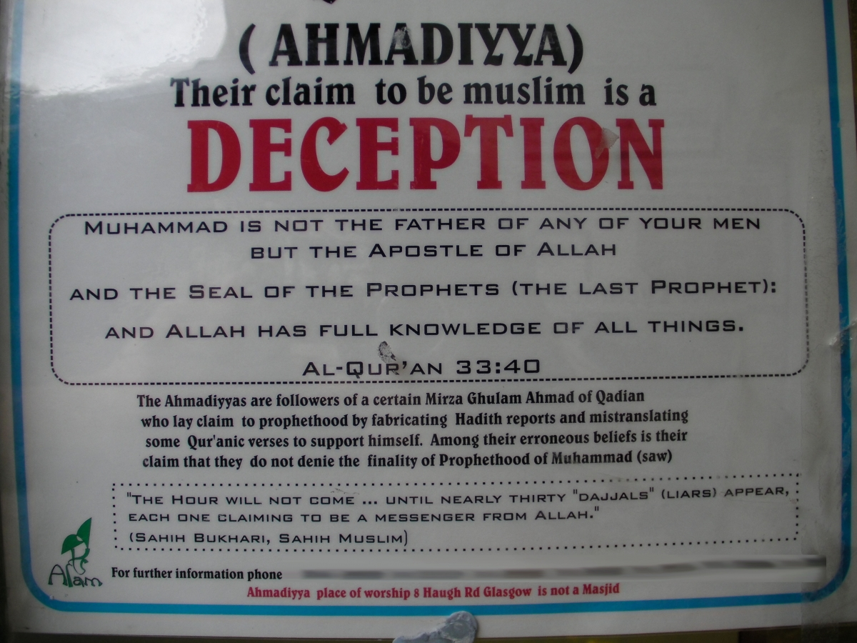 Anti-Ahmadi poster taken down from a shop in south Glasgow