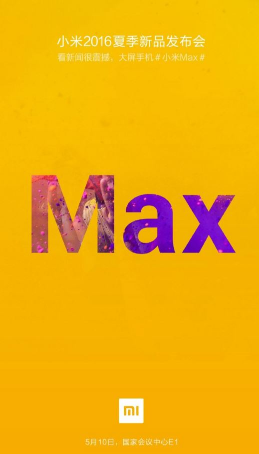 Xiaomi to launch Mi Max 10 May