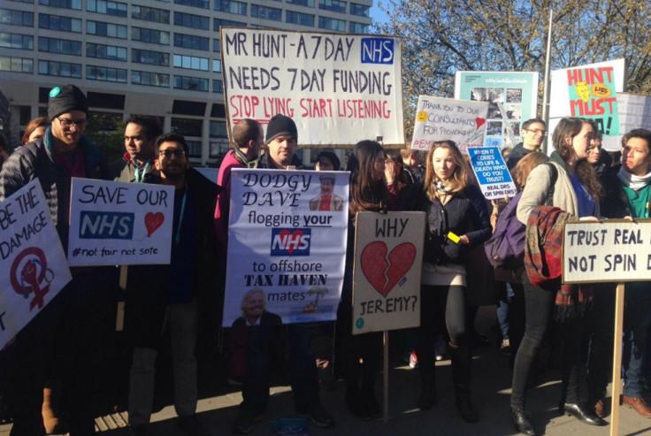 Protest outside St Thomas' Hospital